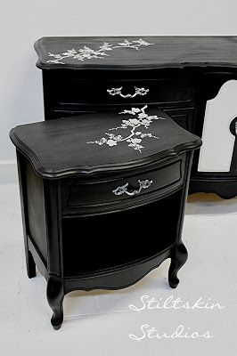 Modern Asian Black Painted Furniture Decor Ideas - Cherry Blossom Furniture Stencil by Royal Design Studio - pic by Stiltskin Studios