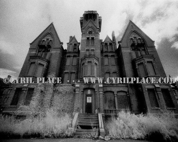 Danvers State Hospital Kirkbride Asylum 8X10 Black and White Infrared Photograph By Cyril Place – Etsy