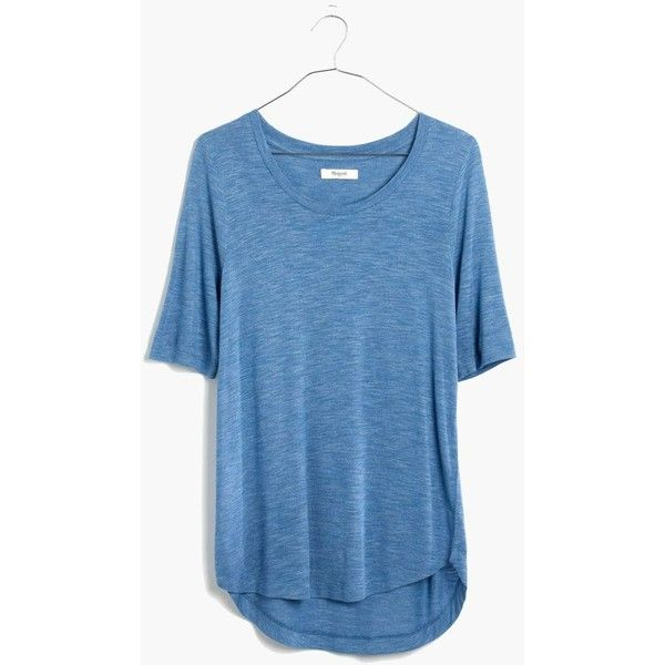 MADEWELL Anthem Curved-Hem Tee ($30) ❤ liked on Polyvore featuring tops, t-shirts, hthr aquamarine, madewell t shirts, elbow sleeve tee, curved hem tee, drapey tee and drape top