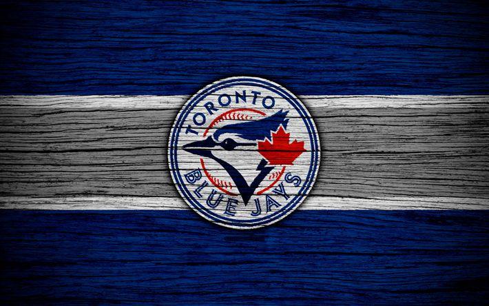 Herunterladen hintergrundbild toronto blue jays, 4k, mlb, baseball, kanada, major league baseball, holz-textur, kunst, baseball club