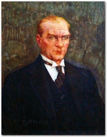 İbrahim Çallı | Atatürk Portresi  Duralit Üzerine Yağlıboya | 79.00x61.00 cm