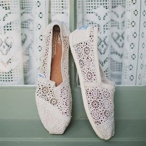 Ivory Lace TOMS bridal shoes