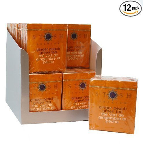 Stash Tea Ginger Peach Green Tea, 10 Count Tea Bags in Foil (Pack of 12)
