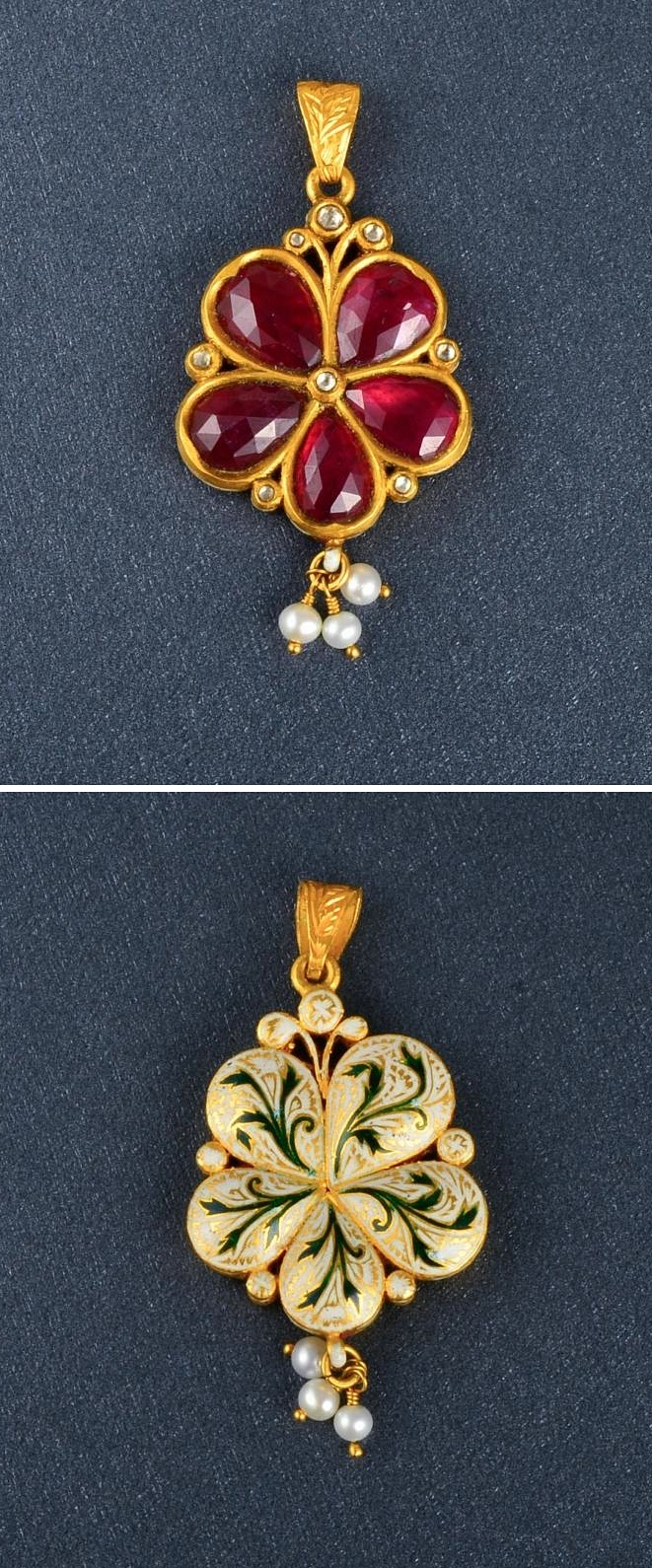 "An Indian ruby and diamond flower pendant featuring 5 pear shaped, facet cut rubies weighing approx. 2CT for flower petals. The flower is adorned with 8 small rose cut diamonds and 3 small pearls. The back is painted with white and green filigree enamel design. The pendant measures 2"" in length and weighs 6.5DWT."