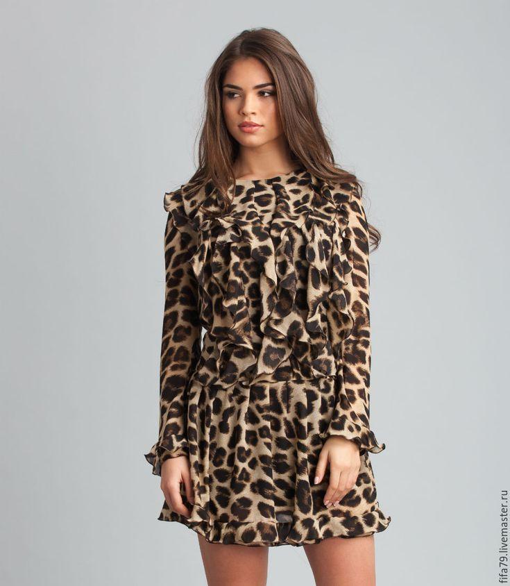 Купить Шифоновое Леопардовое Платье С Воланами - звериная расцветка, леопардовое платье, шифоновое платье