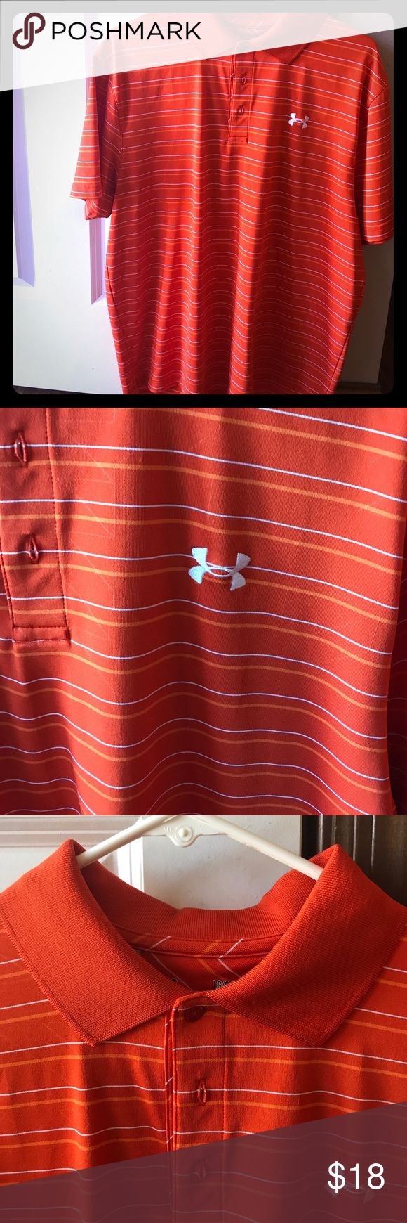 Men's Under Armour Golf Shirt Large orange and white striped Under Armour golf shirt. Only worn once. Perfect for a golf outing or a picnic. Great quality!! Bundle with other items for a bigger discount!! Under Armour Shirts Casual Button Down Shirts