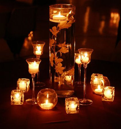 Flowers, Reception, Candles, Centerpieces, Submerged, Vase glass, Flower orchid, Vase cylinder, Candle holders, Vendor inside candles