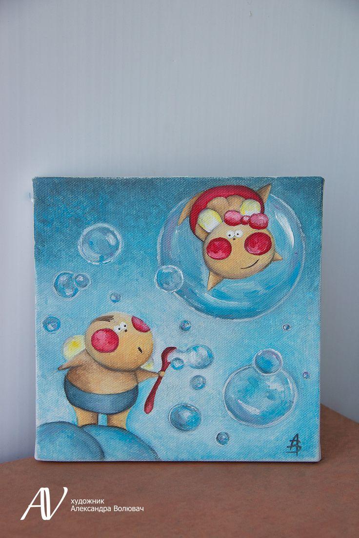 Buy painting, oil painting, children, kids with soap bubbles, picture for children's room, art, painting Купить картину,картина масло,картина дети,дети с мыльными пузырями,картина для детской комнаты,искусство,живопись