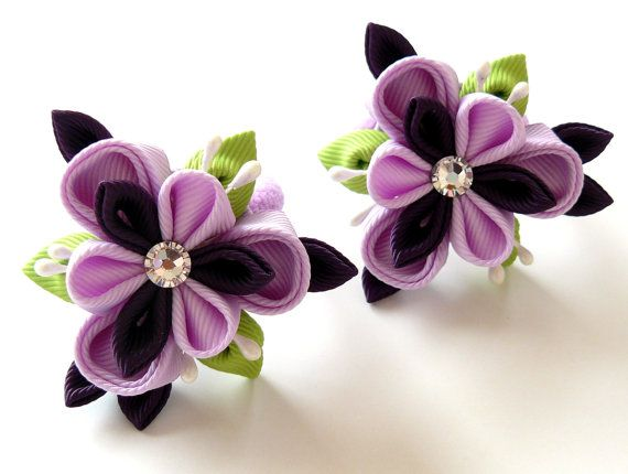 Hey, I found this really awesome Etsy listing at https://www.etsy.com/listing/110513804/kanzashi-fabric-flowers-set-of-2