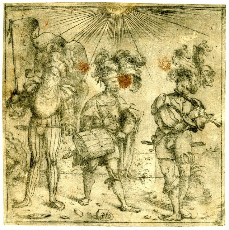 1510-1520  Print made by: Amico Aspertini. Three musician soldiers, the one at the right plays a flute. c.1510-20. Drypoint. Aspertini's monogram is inscribed on the stone at the bottom but the meaning of the numbers 147 that appear on the other stone is not known.  Three musician soldiers in the costume of Swiss or German lansquenet, a theme that was very popular during the early years of the sixteenth century. Here, the figures are set against a Venetian lagoon.