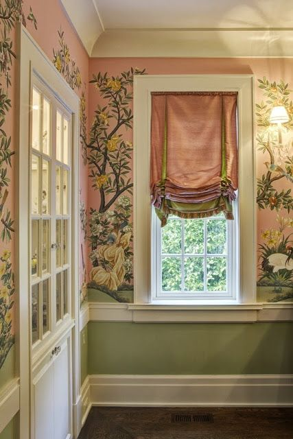 The Glam Pad: My Dream Pink and green Dining Room...very muted grass green and pale flesh pink, gorgeous traditional Southern mural...w/silk shades...elegant!!