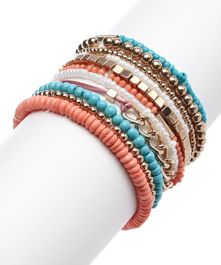 Gold & Turquoise Mix Bead Stretch Bracelet Set