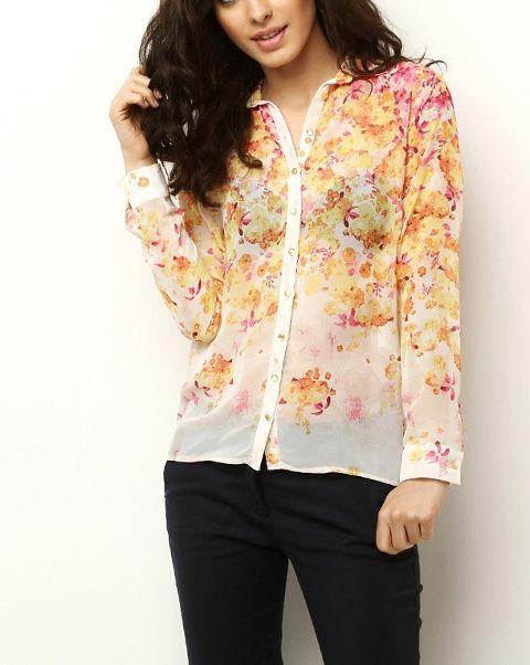 Sarı Çiçek Desenli Şifon Gömlek