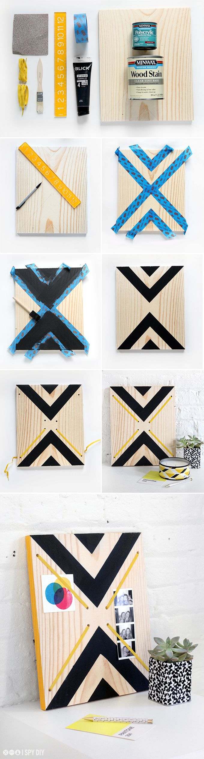 Wood slab coffee table with jenni of i spy diy minwax blog - My Diy Graphic Print Memo Board I Spy Diy