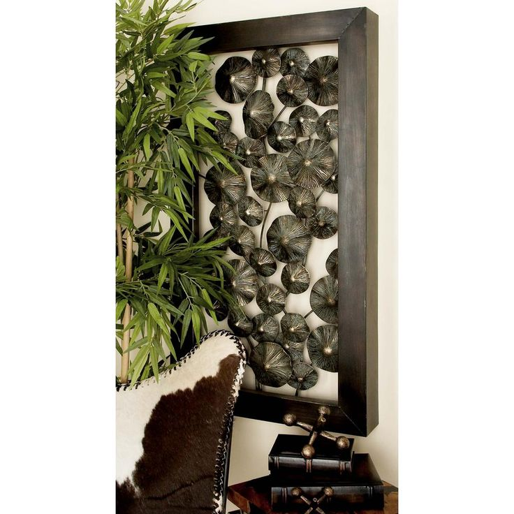 25 in. x 47 in. Modern Mahogany Brown Iron Textured Flowers Wall Decor, Browns/Tans