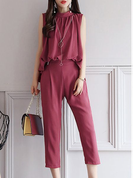 986be49fd0e Buy Jumpsuits For Women from At.   at Stylewe. Online Shopping Stand Collar  Daily Rust Gathered Jumpsuit