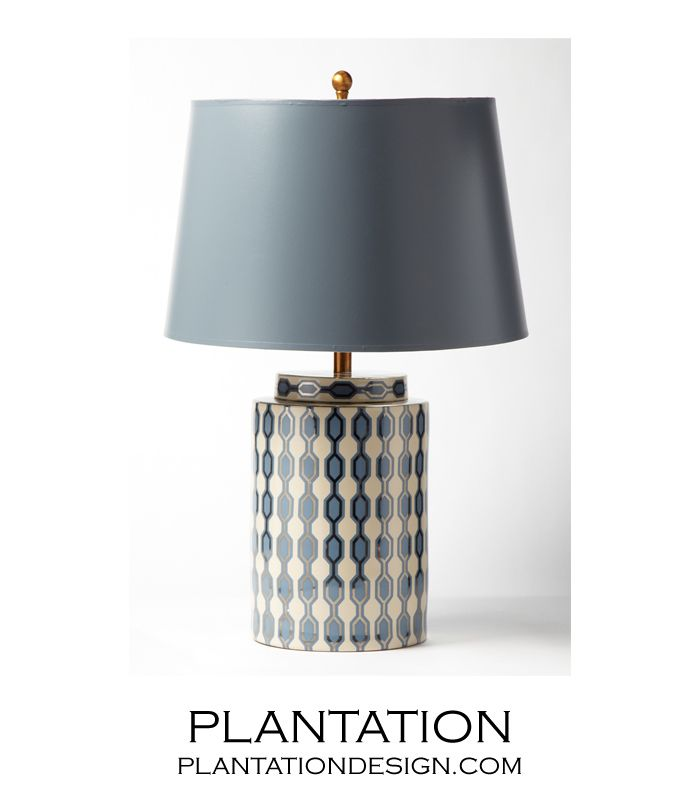 Plantation geometric porcelain table lamp ivory
