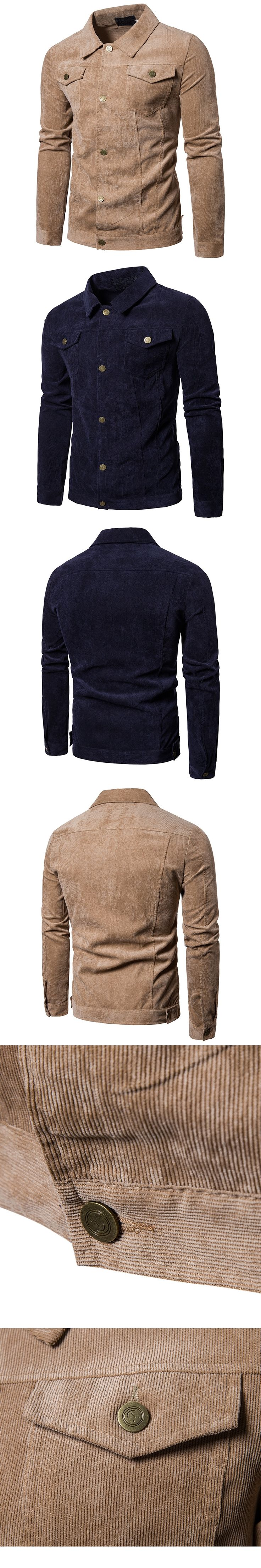 Mens Chinese Tunic Suit Style Corduroy Jacket | 2017 Winter Brand New Male Solid Thick Lines Warm Jacket Mens Casual Streetwear