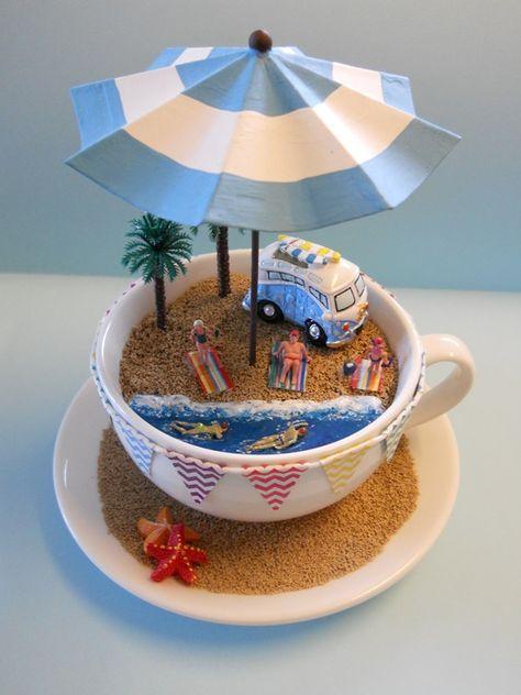 'BEaCH KoMBi' TEaCuP Diorama ____byLoveHarriet @ www.lilyanddot.co...