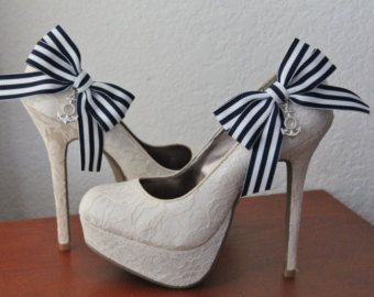 Navy Striped Ribbon Bow and Anchor Shoe Clips - 1 Pair