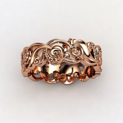 Rose gold scroll ring