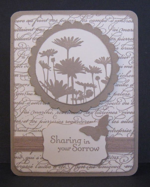 Simple sympathy card by Joyce Spear, uses Upsy Daisy, En Francais, and Thoughts & Prayers from Stampin' Up!