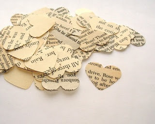 heart confetti made out of your favourite books Maybe use Jane Austen books as well as something in Khmer