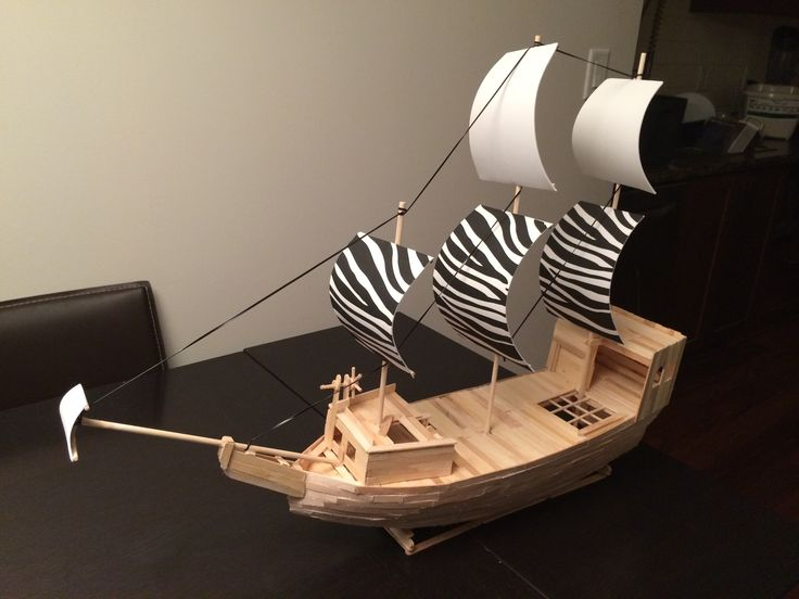 Pirate ship made out of popsicle sticks, wooden dowels and some foam! Does not float on water but the bottom half is exposed to allow figurines to play under the deck. Hours of fun for kids.