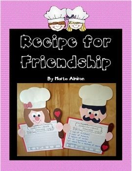 This cute craft is perfect for February to celebrate friendship, although it could also be used during the first weeks of school, or  whenever you what to highlight the friendship topic. Includes writing template with primary and secondary lines, with word bank (as shown in the picture) and without it.  *UPDATE: as per a customer request, I added another writing template with the prompt: A RECIPE FOR A GOOD BOOK (I thought it was a great idea!