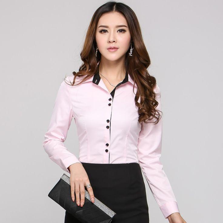 New 2015 Autumn Formal Women Blouses & Shirts Long Sleeve Pink Ladies Office Uniform Shirts for Work Print Camisas Femininas