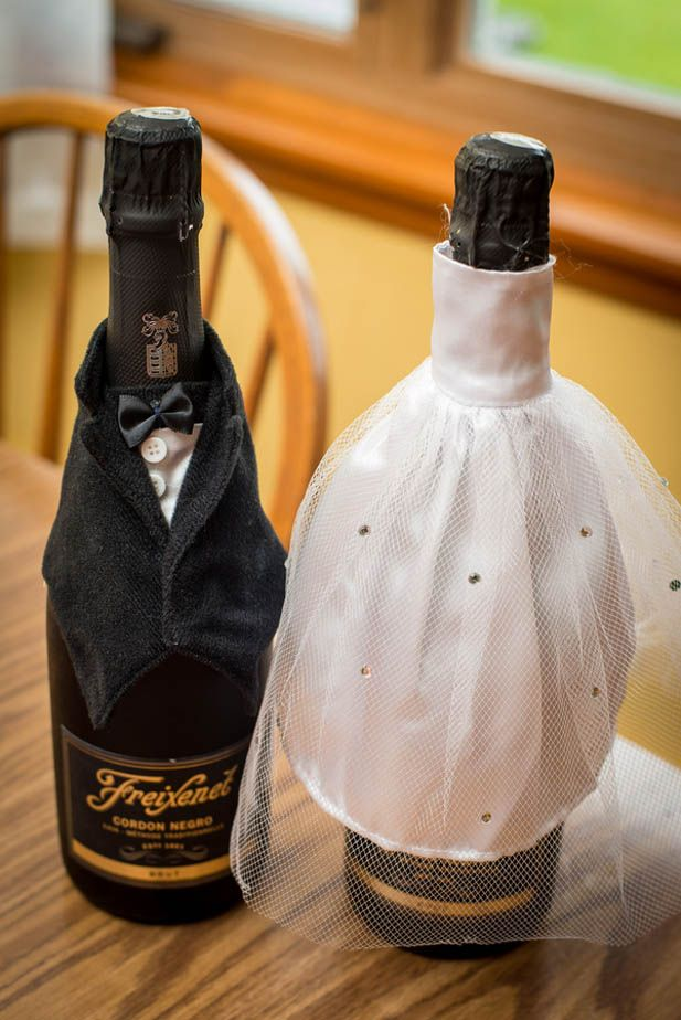 His & hers champagne bottle sleeves for the big day. SO cute!