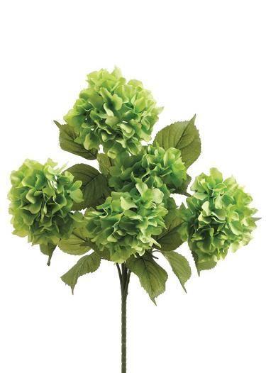 "Silk Hydrangea Bush in Green - 6"" Blooms x 22"" Tall"