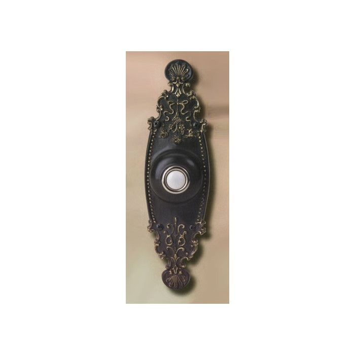 Make a great first impression with a designer pushbutton door bell from Craftmade. Its delicate scrollwork and classic antique bronze finish make it a must have for any homeowner looking for traditional elegance. Their unique two screw feature is designed to make installation easy and fast. Complete the with a 16 volt transformer and chime!