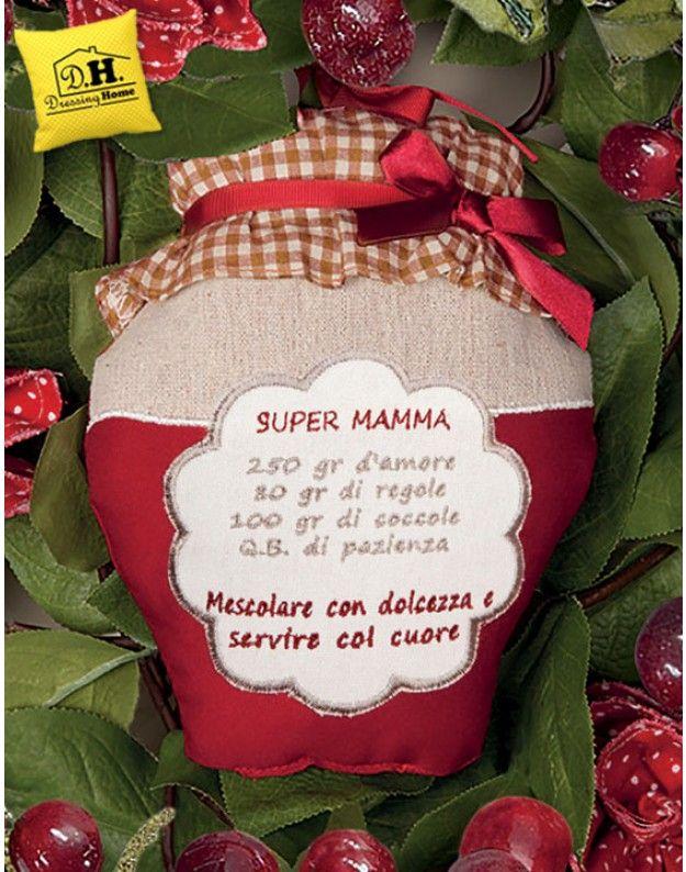 """Cuscino con dedica con Ricetta """"Super Mamma"""" Angelica Home & Country"""