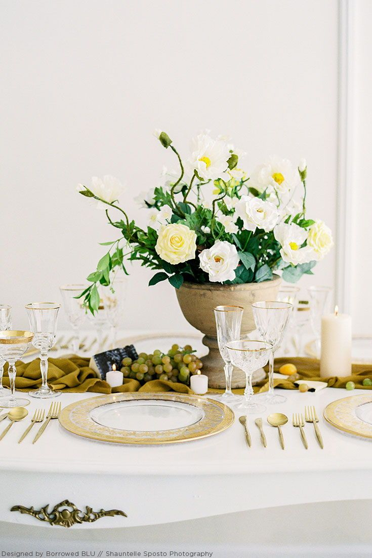 Mustard Yellow Green And White Themed Tablescape For