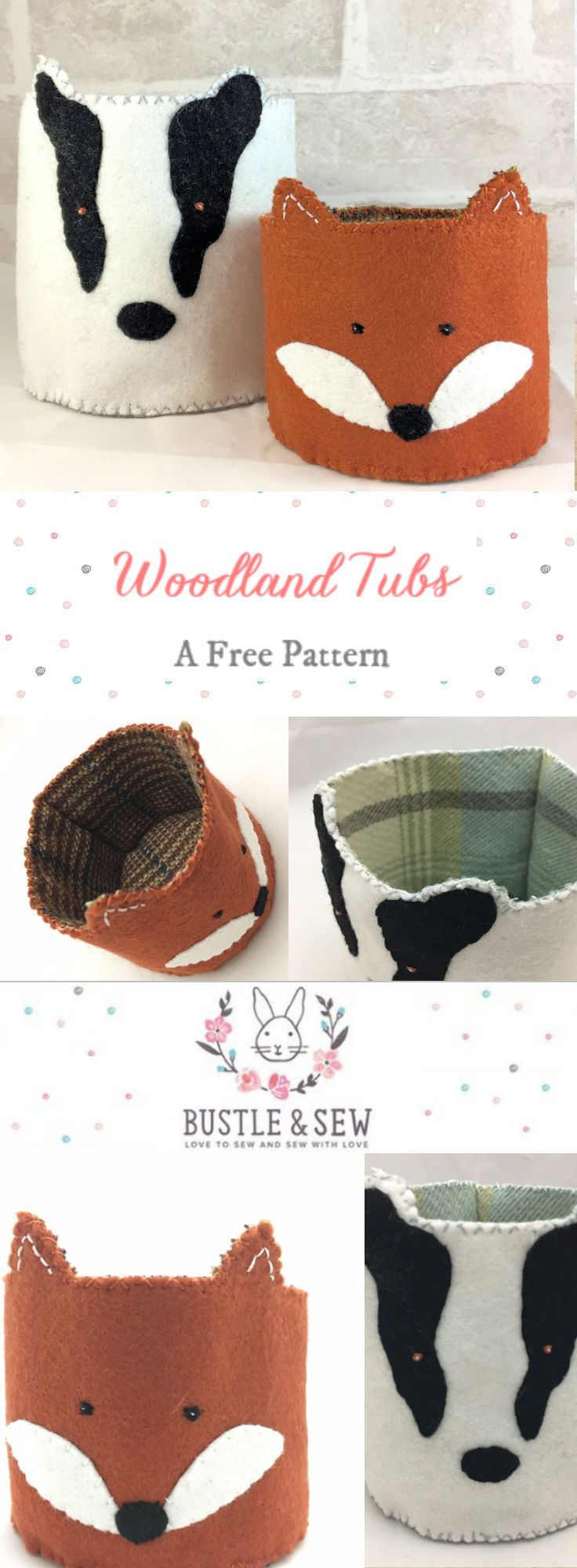 Woodland Mini Tubs pattern by Bustle & Sew  These Woodland Tubs look fab in a nursery or children's room or why not use them to store cotton wool on your dressing table?