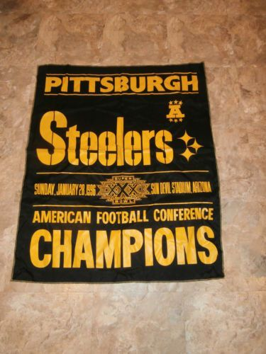 1996 NFL SUPER BOWL XXX BLACK AND GOLD BANNER perfect for framing
