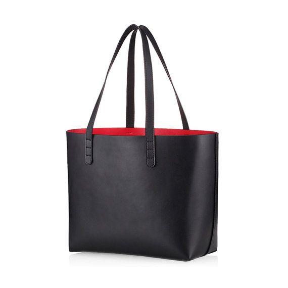 Borsa di pelle tote bag - nero in pelle per sacchetto del computer portatile di donne - borsa shopper in pelle di borsa - borsa a tracolla-borsa - ufficio-