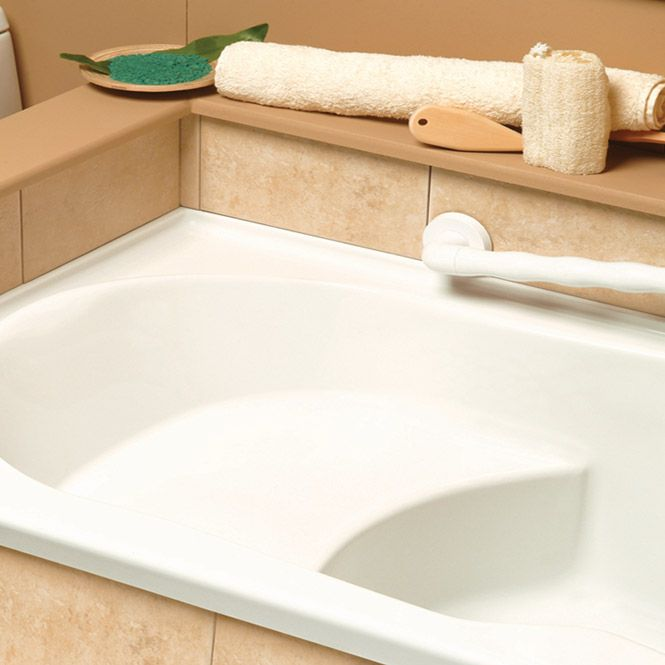 Bathtub with built in seat neptune anna with seat for Soaking tub with seat