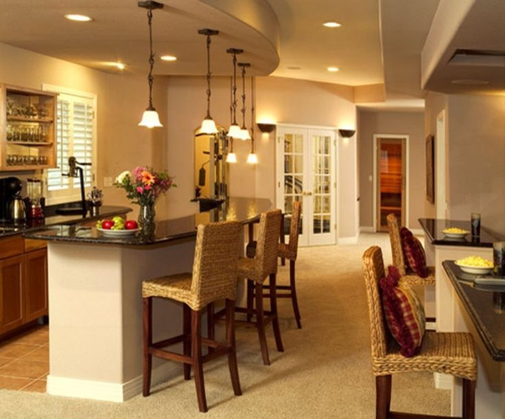 Architecture:Rustic Basement Finishing Ideas With Dining Sets Feat Kitchen Bar And Granite Countertops With Bar Stools Also Pendant Lighting Plus Kitchen Cabinets Denver With Sink And Faucets Also Shelfing Plus Ceramics Floor The Coolest Basement Finishing Ideas for Your On – going Remodeling Basement