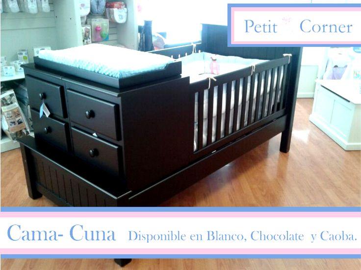 Cama-Cuna disponible en Chocolate, Blanco y caoba.