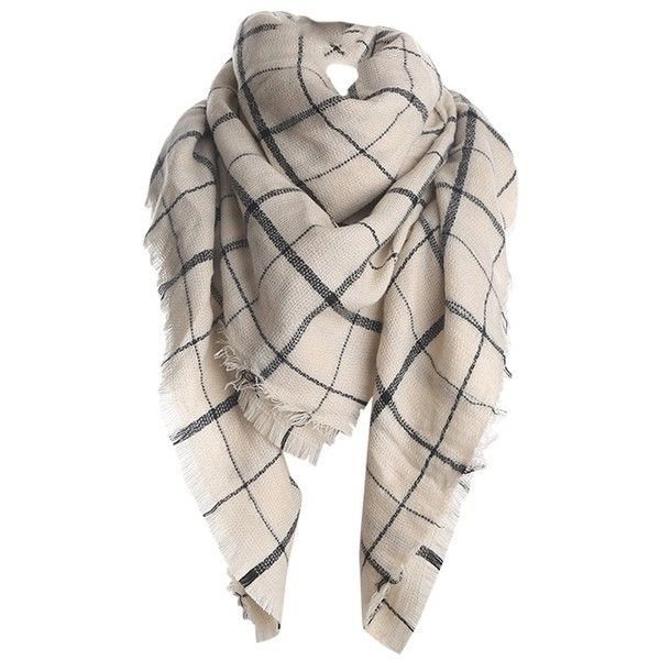 Womens Fashion Warm Plaid Shawl Scarf Beige White ($13) ❤ liked on Polyvore featuring accessories, scarves, beige white, tartan shawl, tartan scarves, plaid scarves, white scarves and white shawl
