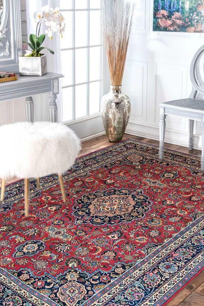 Laal Kashan Jewel 9 X 12 Feet Persian Carpet Wool Area Rugs Modern Wool Rugs Red Wool Area Rug