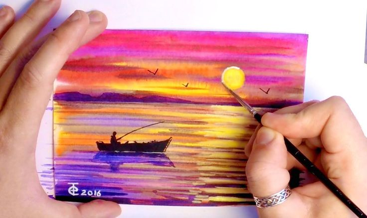 WATERCOLOR PAINTING - HOW TO PAINT SEASCAPE SUNSET - NATURE OCEAN FISHING BOAT - TUTORIAL ART - YouTube