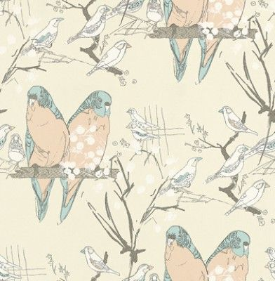 Budgie (AOW-BUDGIE 02) - The Art of Wallpaper Wallpapers - A fun and quirky budgie design in a hand sketched effect. Showing in blue and peach on an off white background - another colour way is available. Please request a sample for true colour match.