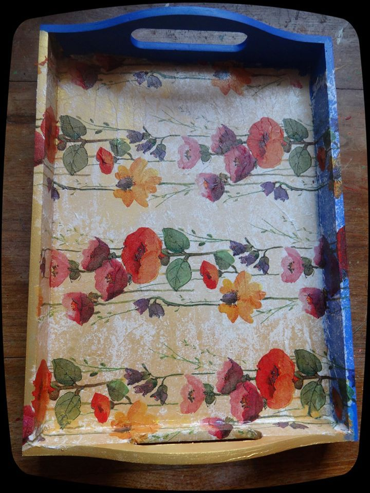 Hand Panted with Acrylic colors and decoupaged with tissue. SOLD.