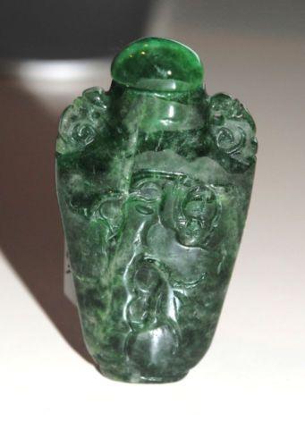 Antique Carved Green Jade Snuff Bottle   eBay