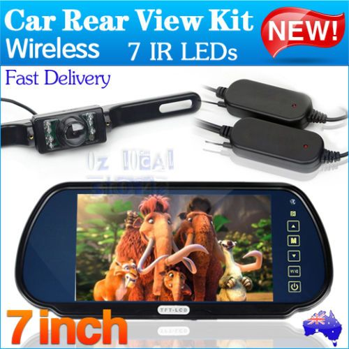 Wireless-Car-Rear-View-Kit-7-LCD-Mirror-Monitor-Night-Vision-Reversing-Camera - Cheap option... http://www.ebay.com.au/itm/130984505852?_trksid=p2055119.m1438.l2649&ssPageName=STRK%3AMEBIDX%3AIT