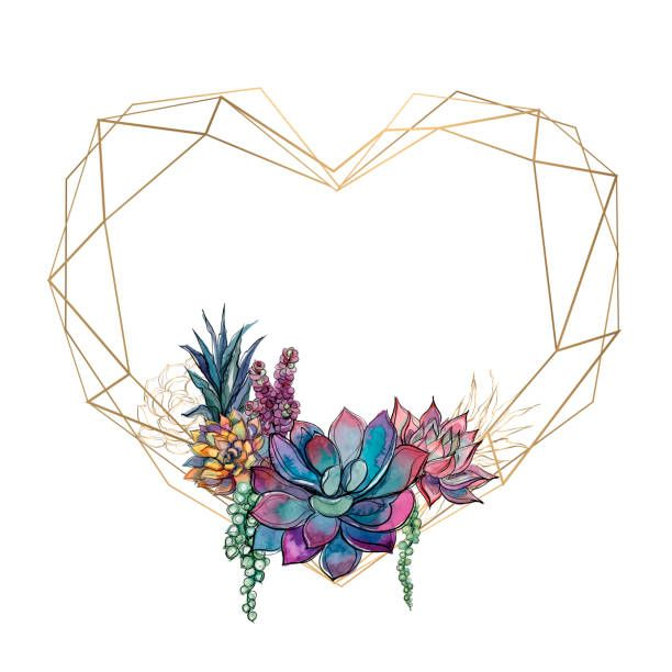 Gold Heart Frame With Succulents Valentine Watercolor Graphics