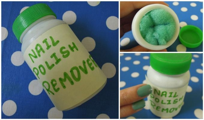 1.air tight jar, cotton balls, nails polish remover 2.put them all together 3.and you have quick and easy polish removers